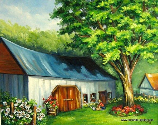 Vieille grange habillée de fleurs durant l'été
