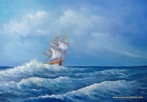 Voilier sur la mer agitée océan