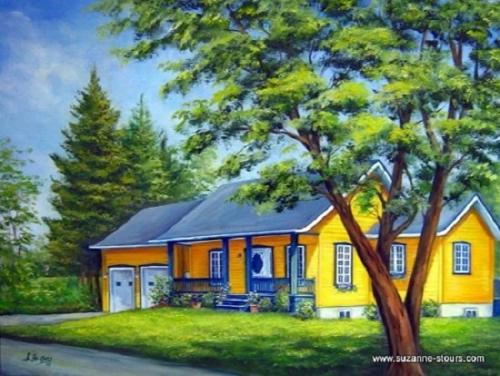 peinture huile maison jaune près du Golf de Grand-Mère