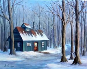Cabane à sucre, érable, hiver, neige, chemin