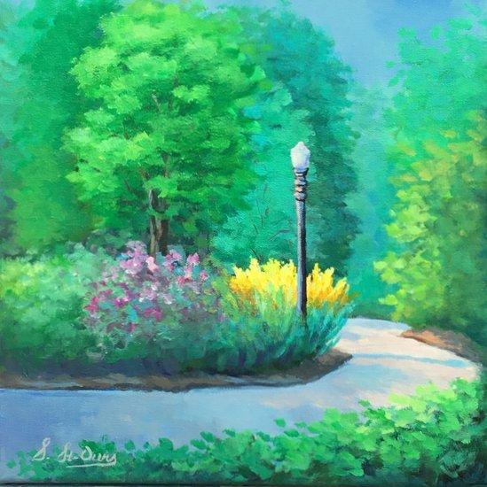 Québec sentier fleurs lampadaire