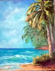 Naples palmier plage vague sable turquoise