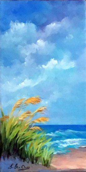 Naples plage sable graminées ciel nuages turquoise